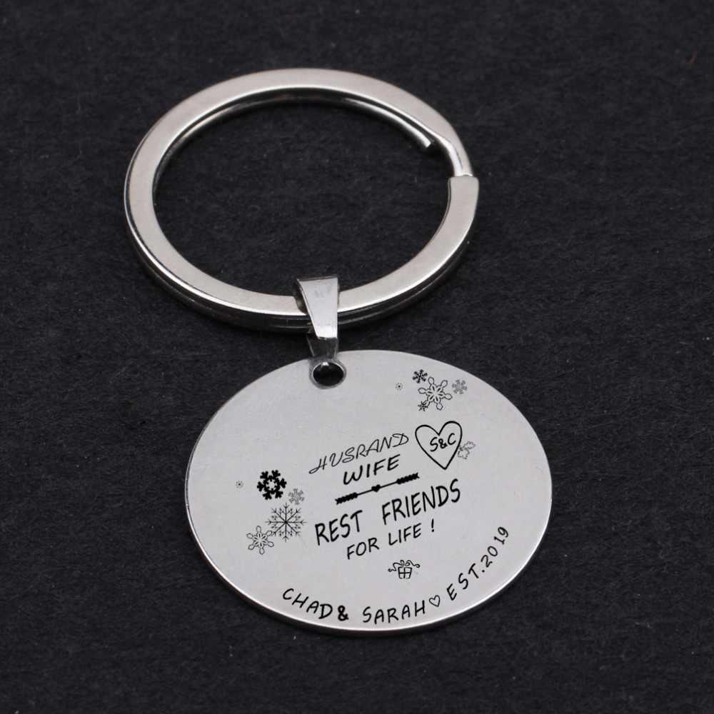 ชื่อแกะสลักที่กำหนดเอง husrand ภรรยา rest เพื่อนชีวิต key สำหรับคู่รัก lover keyring ภรรยากระเป๋า charm คีย์ผู้ถือ