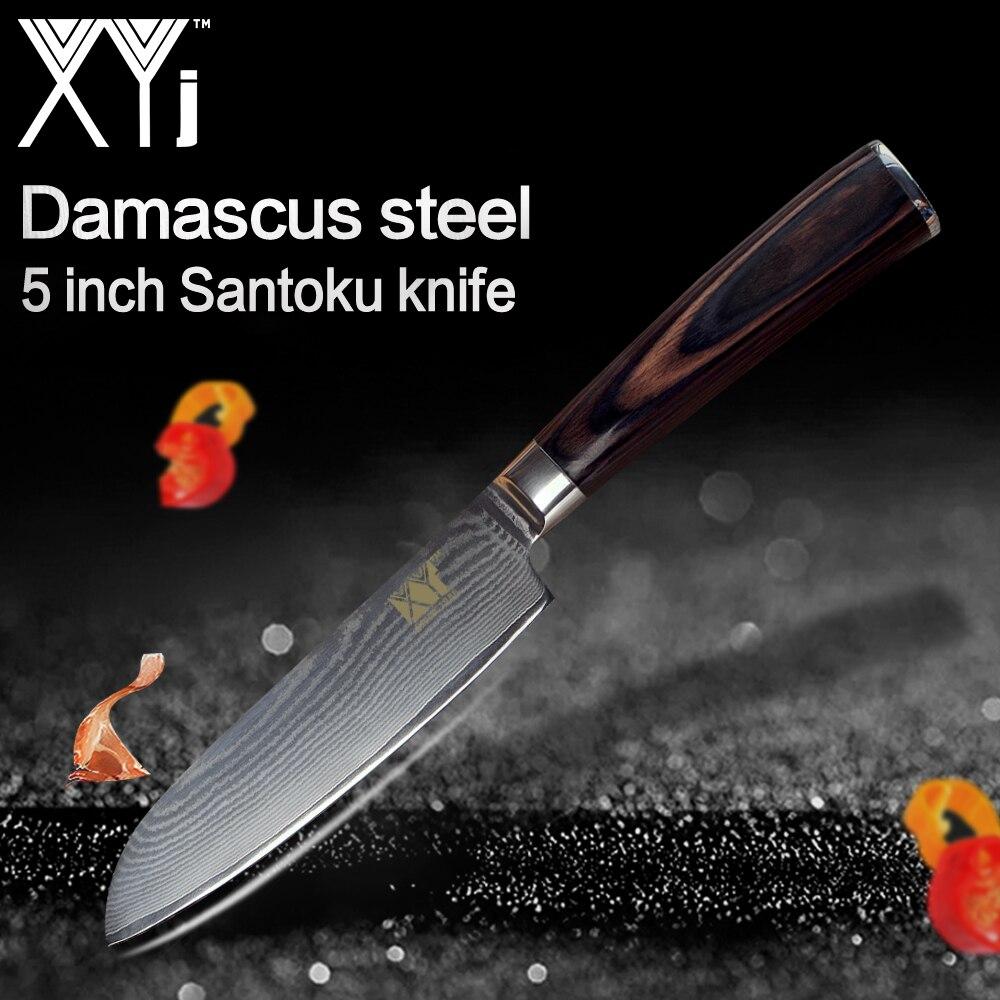 XYj Damas Couteau de Cuisine 73 Couches VG10 Damas Acier 5 pouce Santoku Couteau Couleur Manche En Bois Couteaux de Cuisine Outils de Cuisine