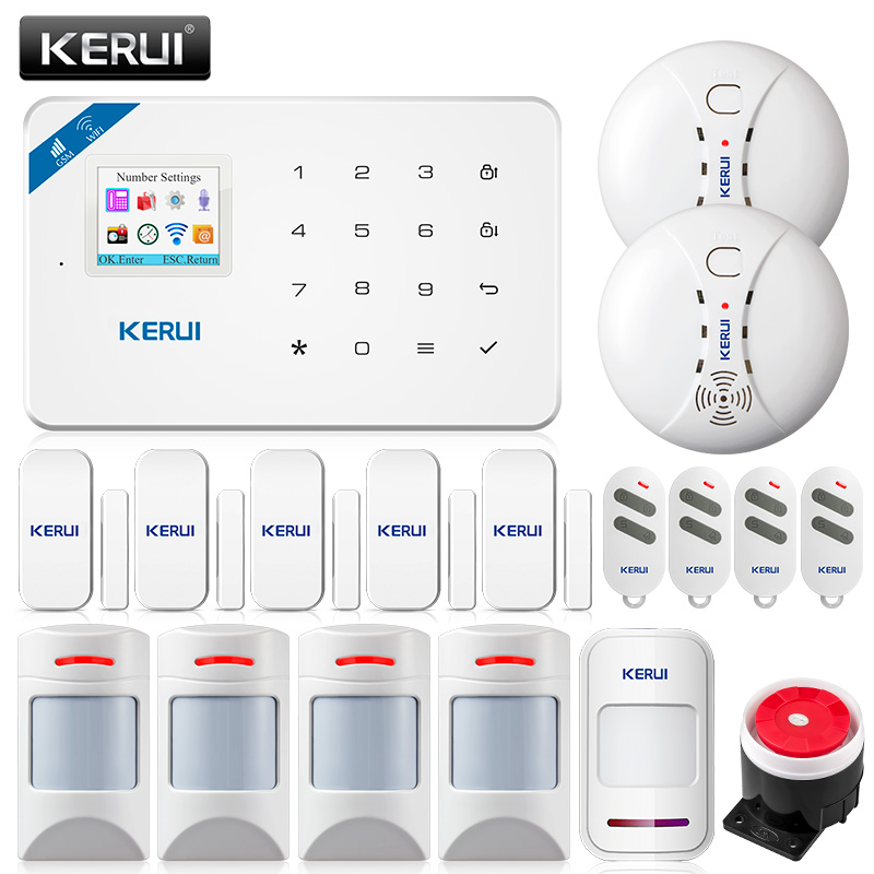KERUI WI8 Pet Immune PIR Detector Smart WIFI GSM Burglar Security Alarm System Smoke Detector Fire Protection