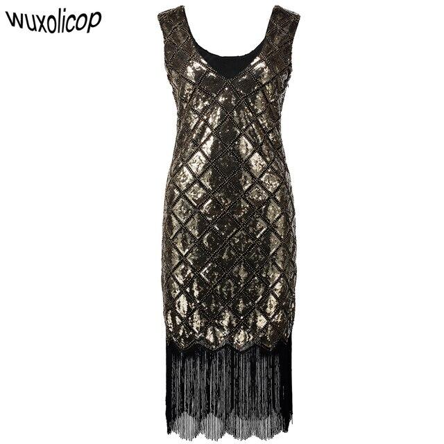 Sparkly Frauen 1920 s Pailletten Perlen Gatsby Flapper Party Kleid Vintage  Vestido V Neck Sleeveless Sommer ac739df89f