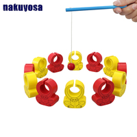 14PCS/Set Children educational wooden toy circle fishing monkey parent child activity game Catch Training gift