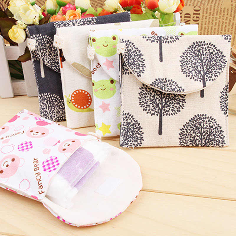 Sanitary Pads Pouch Sanitary Napkin Storage Bag  Sanitary Aunt Bags Cartoon Shape  Key Coin Purse Credit Card Package Cotton