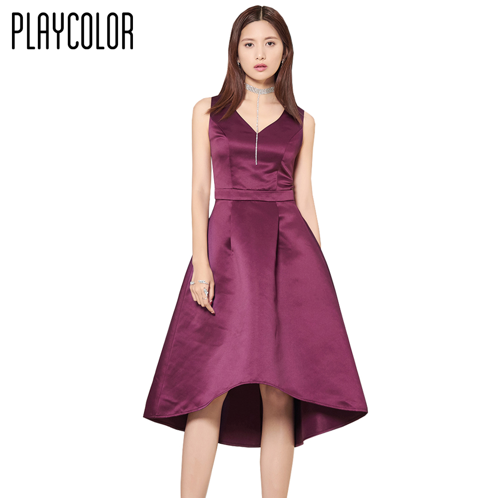 PLAYCOLOR Purple V Neck Formal Evening Dresses Short 2017