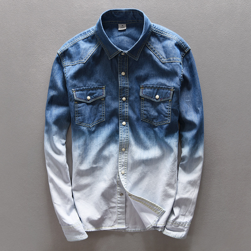 2020 High-end Solid Color Cowboy Leisure Shirt Male Loose Double Color Gradient Denim Shirts