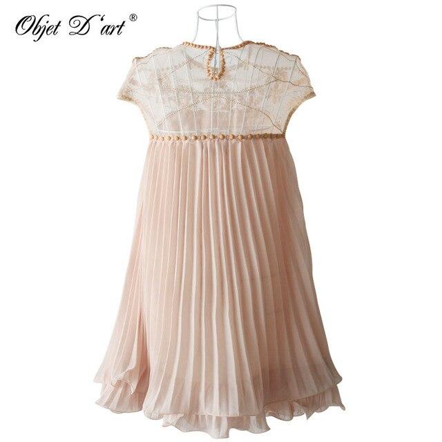 Summer Elegant Women Dresses Emboridery Lace Pleated Short Sexy Party Dress Hollow Out Chiffon Dress Apricot Vestido de festa