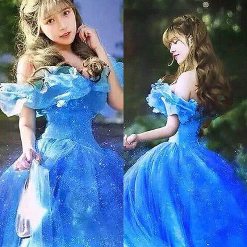 New Blue Fancy Dress Movie Scarlett Sandy Princess Cinderella Dress Off Shoulder Cosplay Costume Adult Girls Dresses