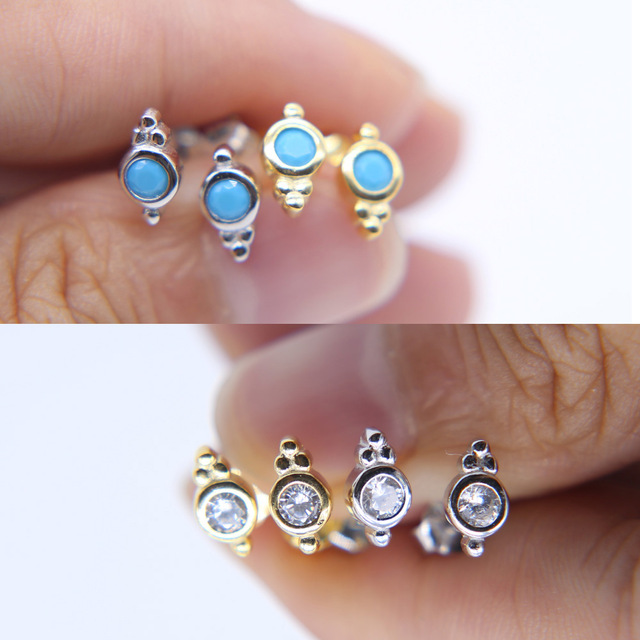2018 Promotion New Plant Earring Real 925 Sterling Silver Tiny Small Cute Ear Studs Women Las Fashion Jewelry Cz In Stud Earrings From