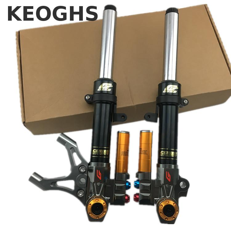 Keoghs Motorcycle Front Shock Absorbers Suspension High Performance Damping Adjust 385mm 33mm For Yamaha Scooter Bws Tcd2000