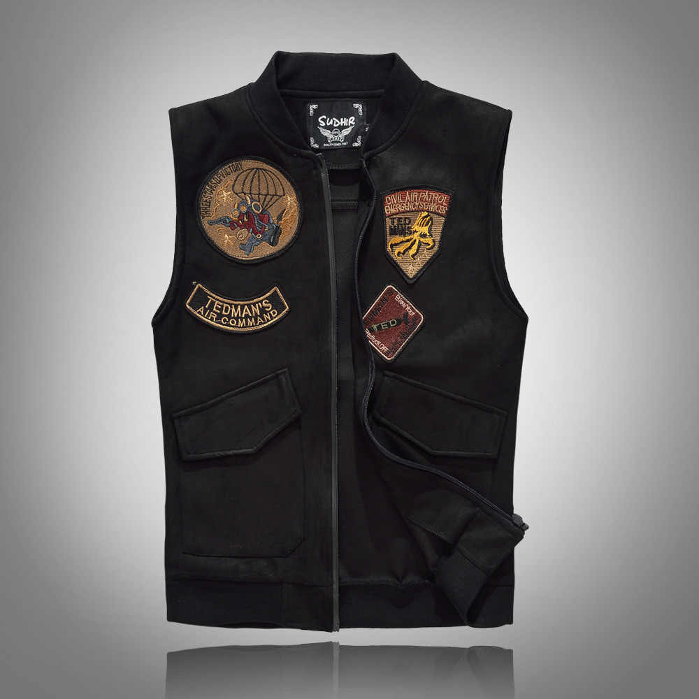 Spring Autumn 2018 Black Solid Color Denim Vest Men's Punk Rock Style Waistcoat Motorcycle Sleeveless Jacket