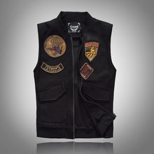 Spring Autumn 2018 Black Solid Color Denim Vest Men's Punk Rock Style Waistcoat Motorcycle Sleeveless Jacket(China)