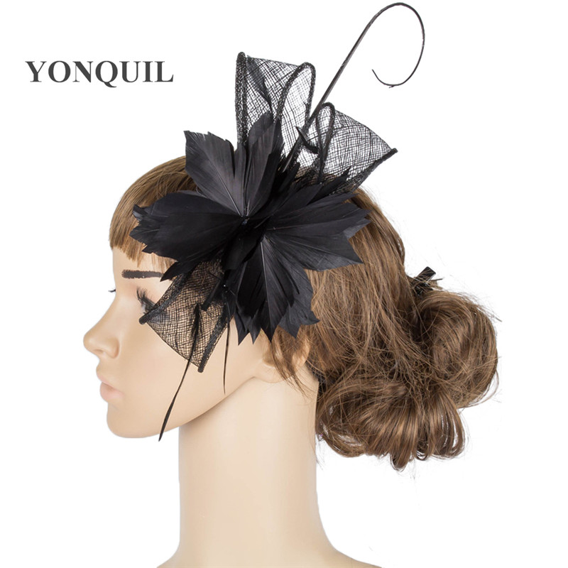 bc1e6836f411d 17 colors artistic sinamay feather material fascinators photographic studio  headpiece derby bar hats suit for all season MYQ078-in Party Hats from Home  ...