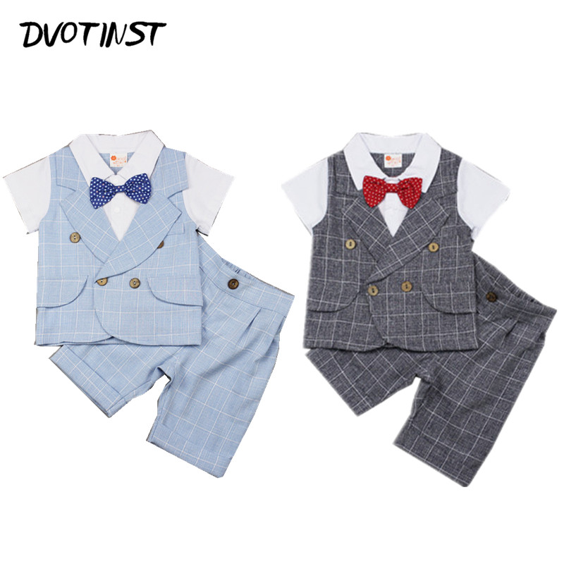 Baby Boys Clothes Summer Short Sleeves Gentleman Formal Uniform Suit 2pcs Set Outfit Infant Children Wedding Birthday Costume new fashion kids clothes set baby boys summer 2pcs set short sleeve t shirt and striped short outfit children set
