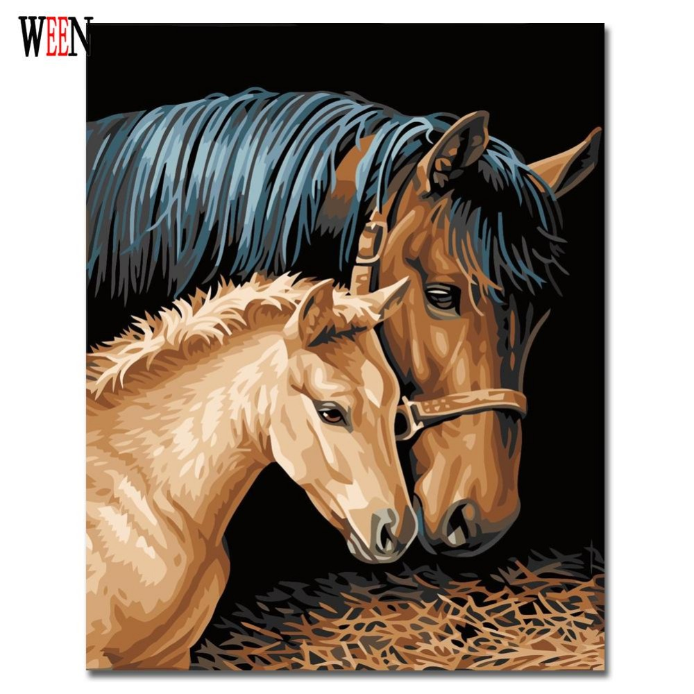 WEEN Horse Couples Painting By Numbers Kits DIY Coloring Painting By Numbers Drawing Paint On Canvas For Home Decor WallArt