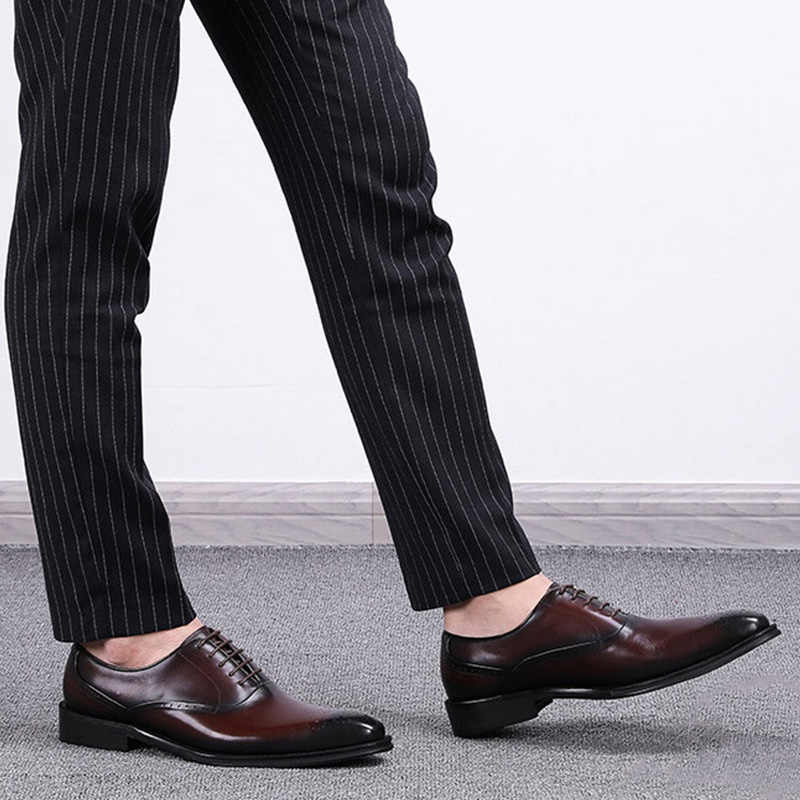 Couro de vaca Genuína homens casamento Negócios brogue dos homens apartamentos sapatos casuais 2019 preto borgonha do vintage sapatos oxford para homens sapato