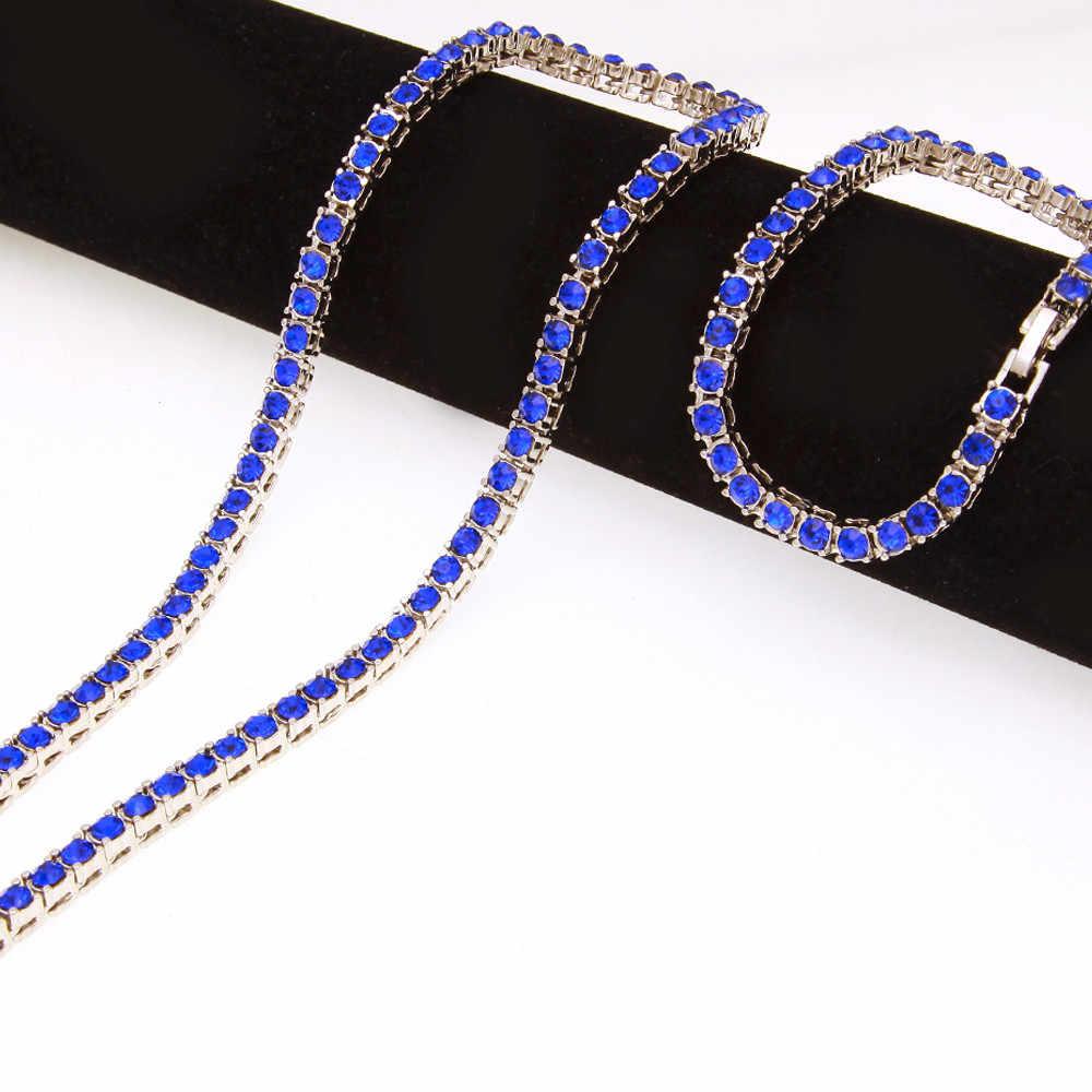 1 แถว 5 มม. สร้อยคอและสร้อยข้อมือชุด Iced Out สีแดง, สีดำ, blue Rhinestone ทองชุบเงิน 8 นิ้ว 18/20/22/24/26/30/36 นิ้ว