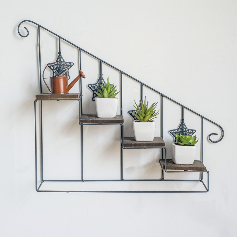 American retro wrought iron wooden staircase flower stand multi-layer floor pot rack indoor living room small pot rack lo8131106