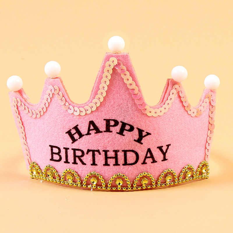 """Детские игрушки для вечеринок шляпа """"с днем рождения"""" светодиод мигает игрушки с короной для детей Шапки 0-3 лет головные уборы для маленьких девочек и мальчиков, подарок"""