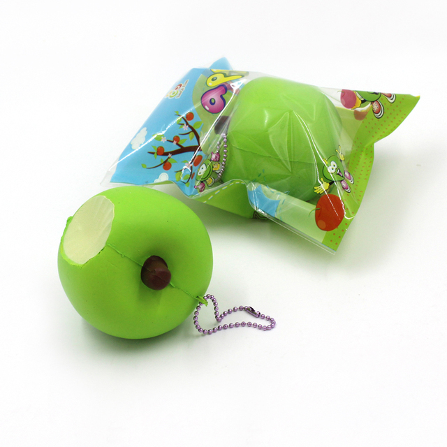 8cm Green Apple Squishy Apple Fruit Super Slow Rising Phone/Bags Straps Charms Kids Toys 1PCS