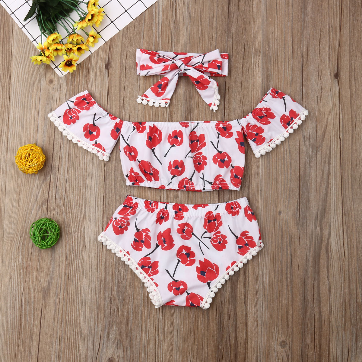 712239dae Newborn Baby Girls Clothes Floral Tassel Tops Shorts Pants Headband 3PCS Outfits  Summer Set 0-24M ~ Free Delivery June 2019