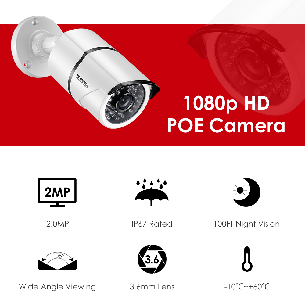 cheapest ZOSI 8CH NVR 1080P IP Network POE Video Record IR Outdoor CCTV Security Camera System Home video Surveillance kit