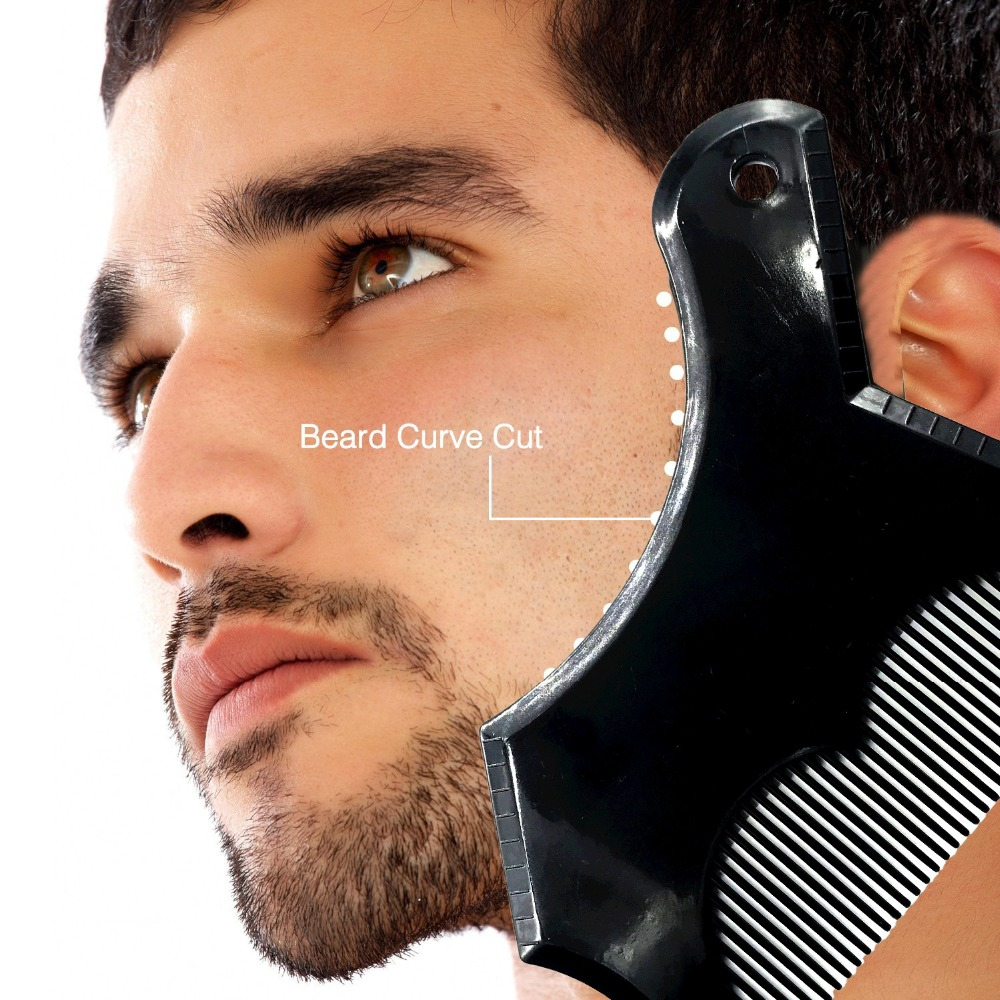 Beard Shaping & Styling Tool Shave Comb for Perfect Line Up Edge Control Men's Beard Comb Hair Trim Templates Shaper 1pcs