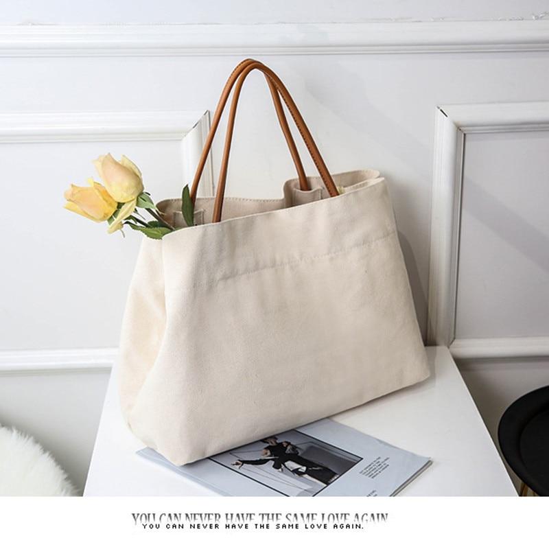 Casual Tote Bags For Women Big Bag Designer Leisure High Quality Handbag Large Capacity White Canvas Bag For Shopping