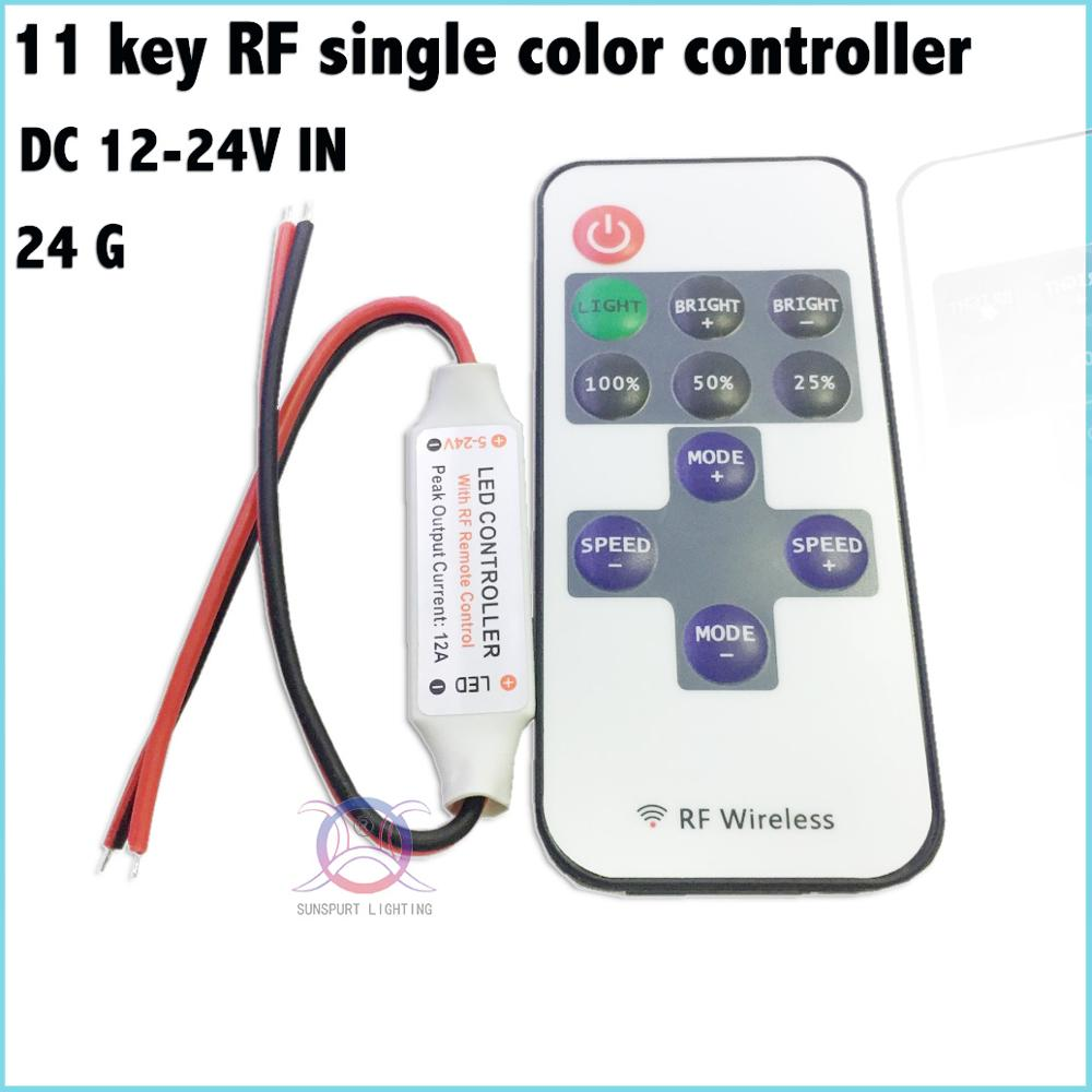 1-10 Pieces Advanced chip 11-key LED RF single color controller DC12-24V Factory direct  ...