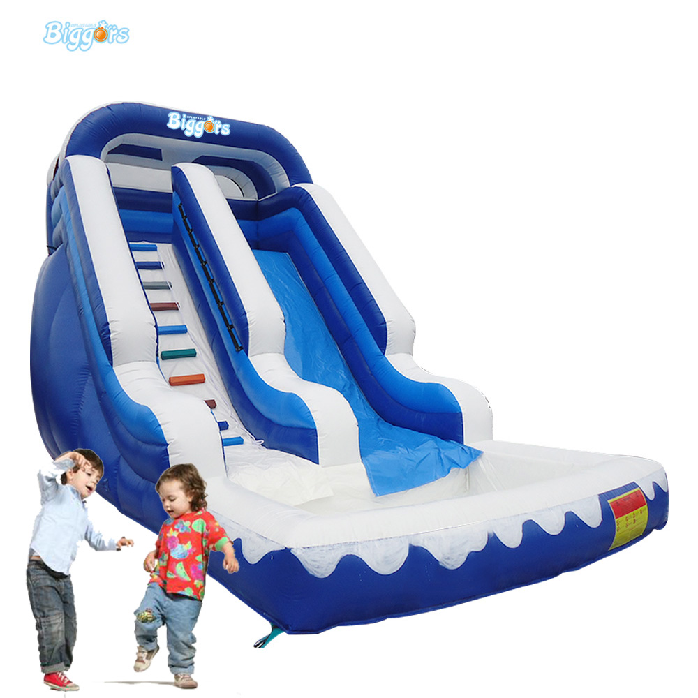 Exciting Beach Inflatable Ocean Theme Water Slide with Pool children shark blue inflatable water slide with blower for pool