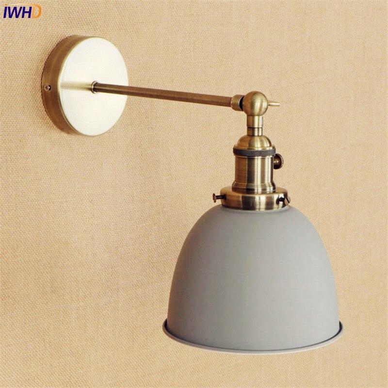 Iwhd латунь серый Edison светодио дный настенный светильник рядом wandlampen E27 4 Вт лестница света Винтаж Arm настенные бра аппликация Murale светильник