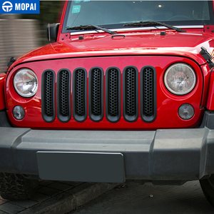 Image 2 - MOPAI ABS Car Exterior Insert Front Mesh Grille Cover Trim With Buckle Stickers For Jeep Wrangler JK 2007 2016 Car Styling