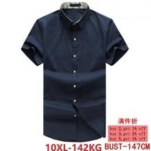 XL 5XL 6XL 7XL 8XL 9XL 10XL degli uomini della camicia del manicotto del bicchierino di estate allentata casuale blu navy giacca da uomo camicia di vestito