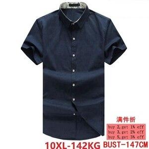 Image 1 - Xl 5XL 6XL 7XL 8XL 9XL 10XL シャツ男性の半袖ルーズ夏カジュアル紺男性のジャケットドレスシャツ