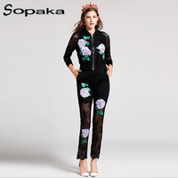 M Autumn Full Sleeve Zipper Jacket Ankle Length Pants Sets Casual Flower Green Leaf Sequins Appliques