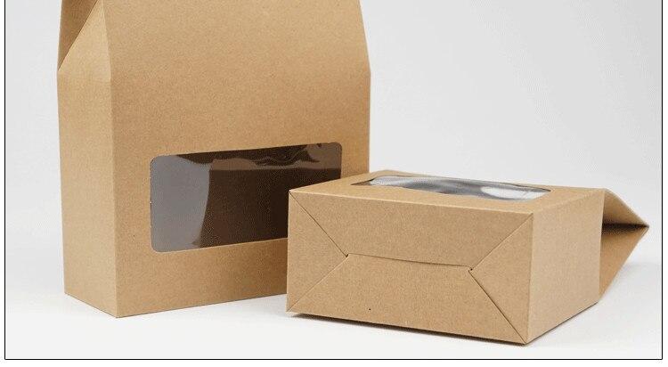 DHL 150 stks 10.5*15 + 6 cm Bottom Stand Up Kraftpapier Handvat Opbergzakken Met Clear Window voor Noten Voedsel Snack Doypack Zakjes-in Geschenktasjes & Inpak Benodigheden van Huis & Tuin op  Groep 2
