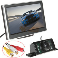 5 Inch TFT LCD HD Color Car Rear View Parking Monitor 2 Video Input 7 IR