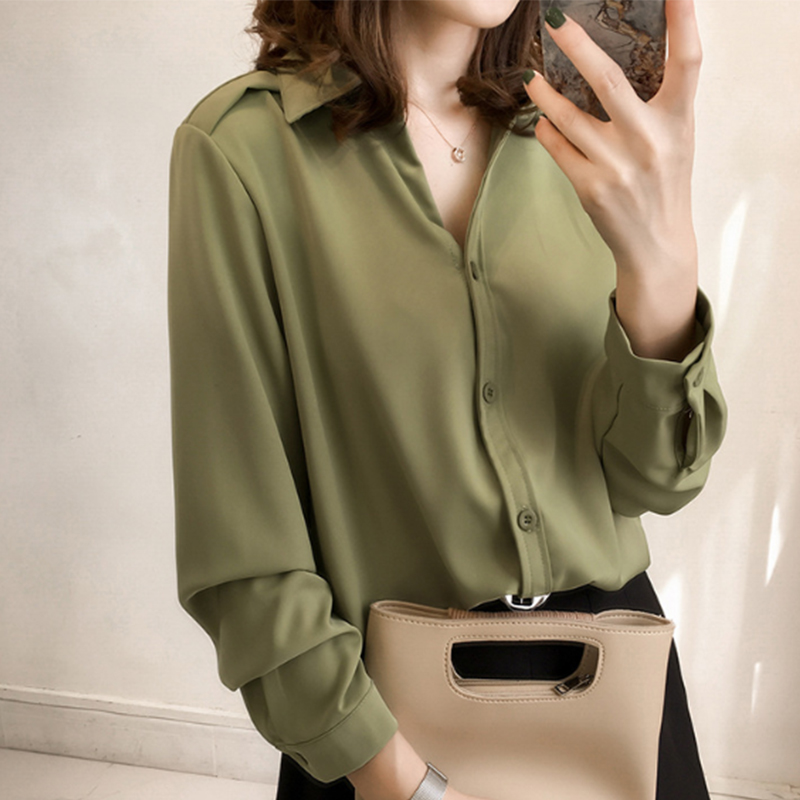 Women   Blouse     Shirt   Spring Long-sleeved Chiffon   Shirt   Formal Women Tops blusas