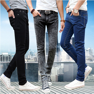 New 2016 Men's Tight Pencil jeans Male Slim Blue Fashion Casual Denim Trousers Men Skinny Jean Pants Size 28-34 Free Shipping