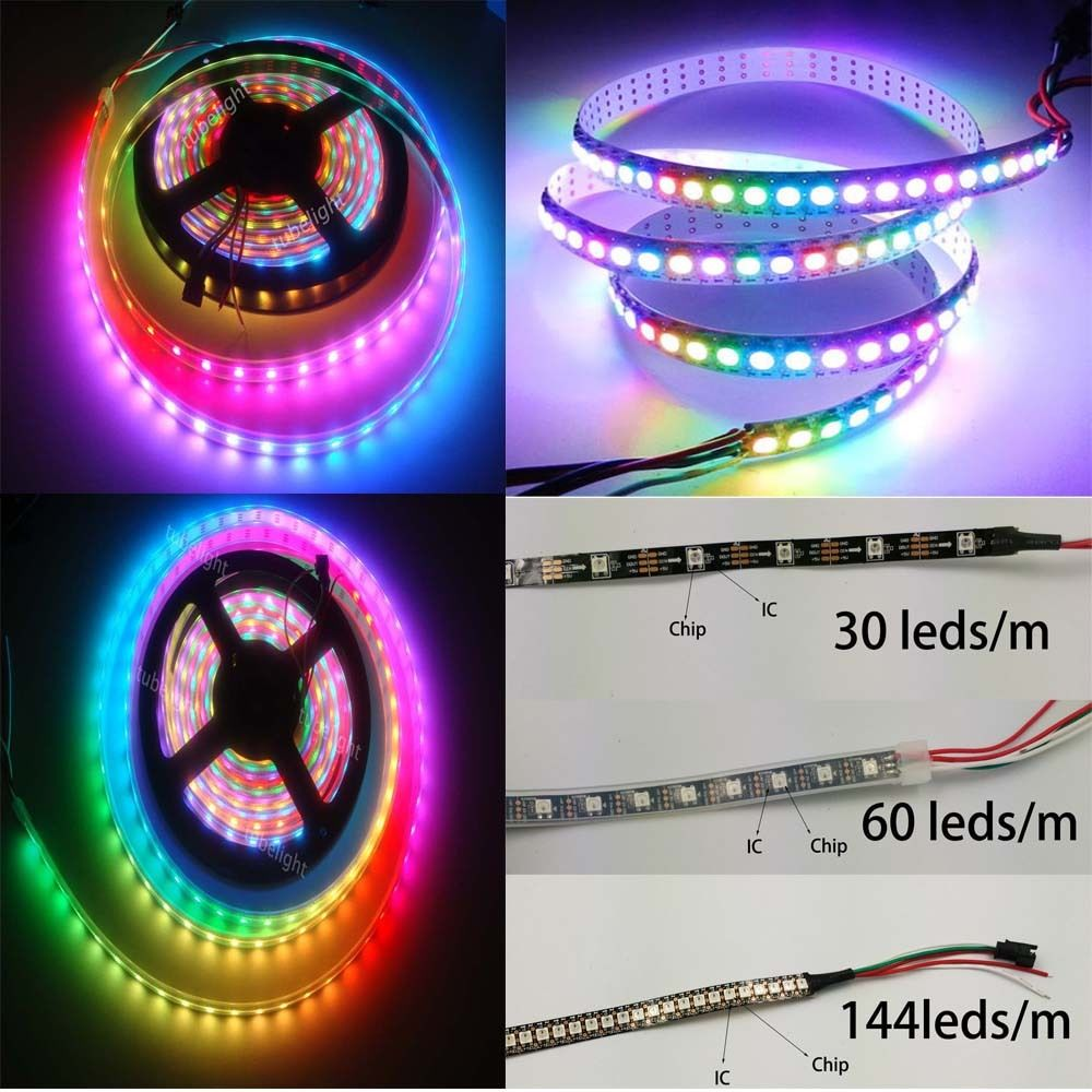 WS2812B 1m/5m SMD5050 RGB LED Strip 60/144/150/300leds/m Pixels Individual Addressable DC 5V Smart RGB Led Light IP30 IP65 IP67