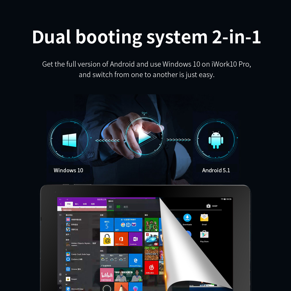 ALLDOCUBE  iwork10 Pro 10.1 inch Windows10+Android5.1Tablets PC  IPS 1920*1200  Intel Atom  4GB RAM 64GB ROM Tablet For learning