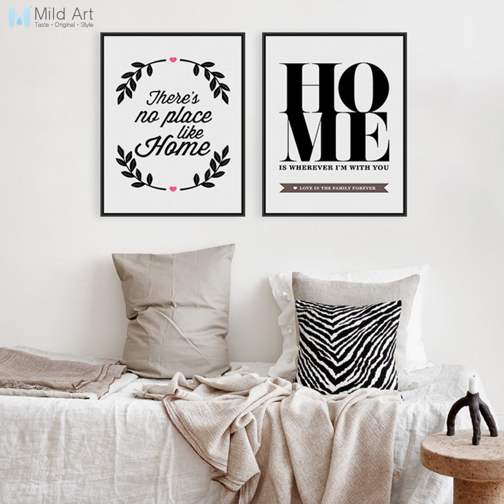 Black And White Inspire Family Quotes Typography Posters Prints