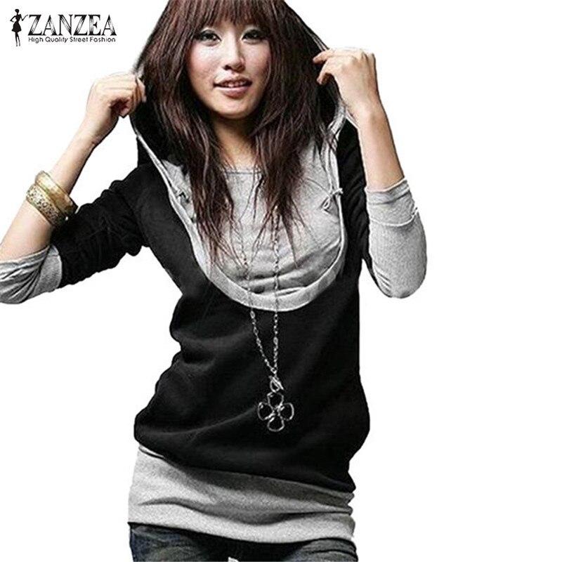ZANZEA Plus Size Women Hoodies Sweatshirt 2018 Autumn Casual Long Sleeve Patchwork Pullover Hooded Fake 2 Pieces Outwear Tops