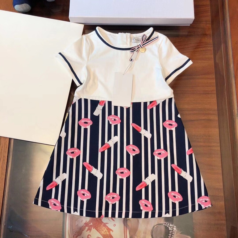 Fashion luxury brand new designer Style children girl dress Lipstick Print Cute princess dresses for girls Short sleeve