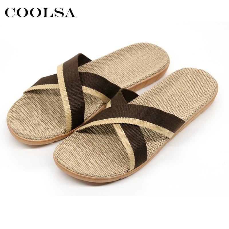 Coolsa Summer Men Flax Flip Flop Canvas Linen Non-Slip Designer Flat Slides Indoor Slippers Man Beach Sandals Casual Straw Shoes coolsa ho t summer woman beach sandals linen slippers flax plaid fabric flat non slip indoor flip flop women casual straw shoes