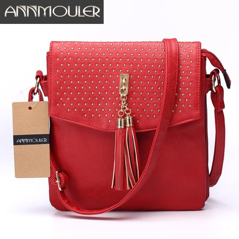 Annmouler Brand Women New Shoulder Bag 5 Colors Messenger Bag with Tassel Pu Leather Crossbody Bag Rivet Double Zipper Bag tassel decor crossbody bag
