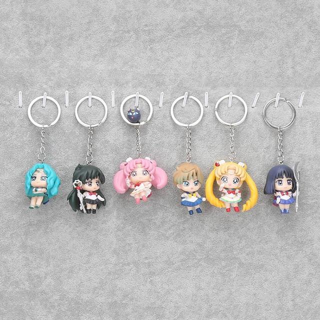 6 pièces/ensemble japonais Anime marin lune Figures Tsukino Usagi marin Mars mercure Jupiter vénus saturne PVC poupée porte-clés pendentif