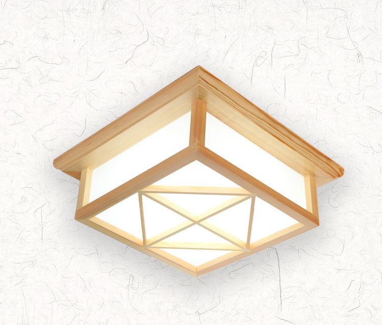 Modern Square Surface Mounted LED OAK Wood Ceiling Light with PVC Lampshade Lamparas De Techo for Living RoomModern Square Surface Mounted LED OAK Wood Ceiling Light with PVC Lampshade Lamparas De Techo for Living Room