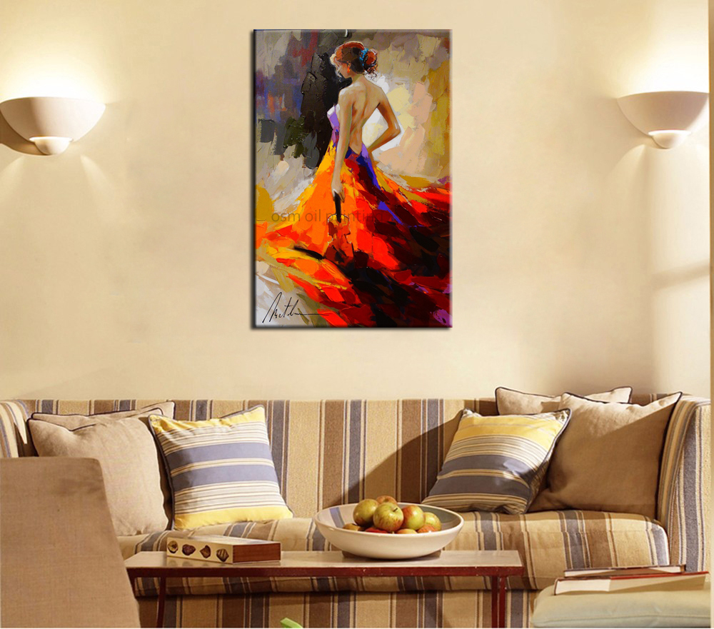 Wholesale Hand-painted Modern Knife Oil Painting Dancer <font><b>Nude</b></font> Sexy No <font><b>Female</b></font> Lady Woman Wall Decor <font><b>Artwork</b></font> Oil Painting On Canvas