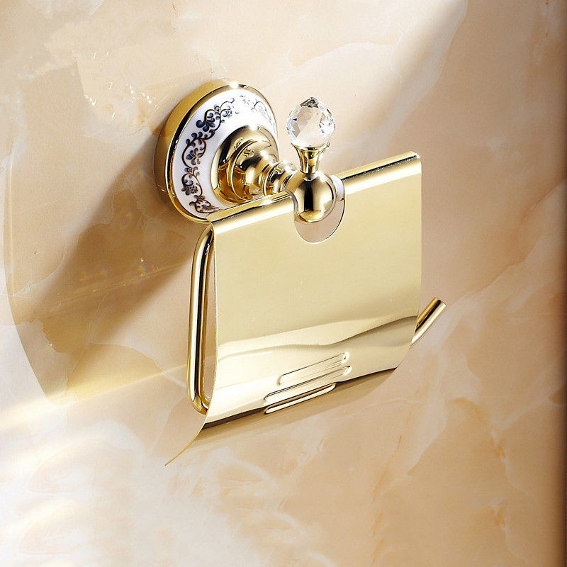 Antique Rose Gold Polished Toilet Paper Holder Brass Ceramic Crystal Roll Holder Tissue Box