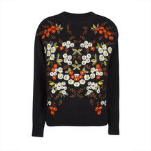Young17 Autumn Sweater Women 2017 Black Pullover Casual Floral Embroidery Knitted Knitwear Fall Sweater Female Pullover Sweater