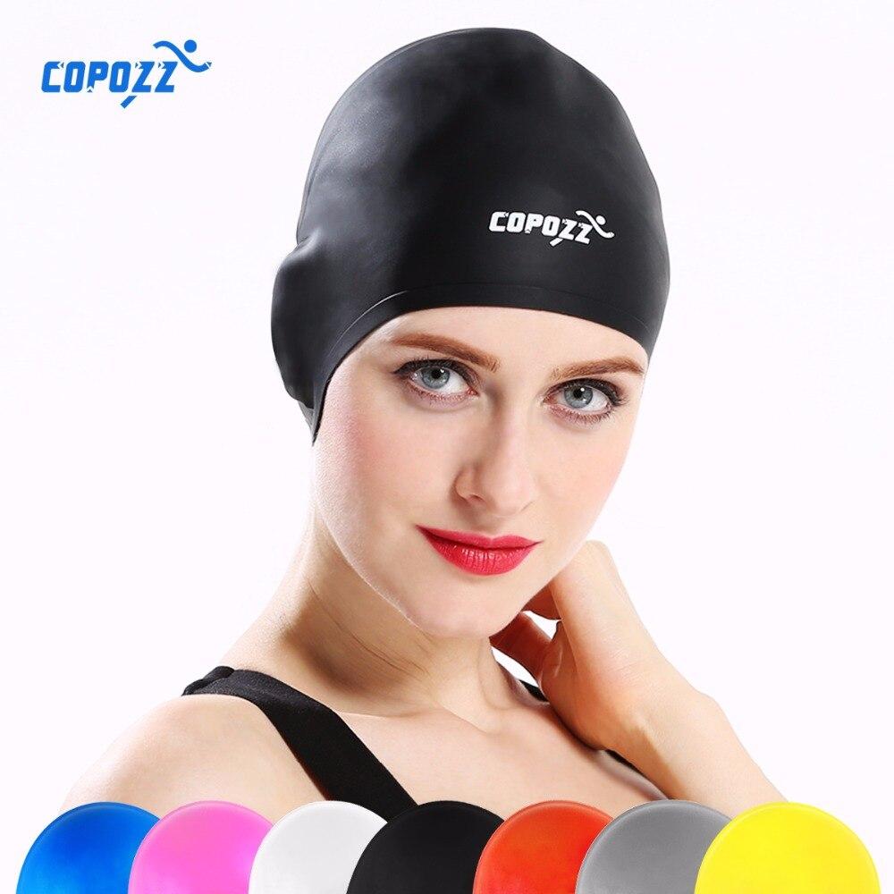 COPOZZ Silicone Étanche 3D élastique De Natation Caps pour Hommes Femmes Cheveux longs De Natation Chapeau Couverture Oreille Os Piscine adulte de bain cap